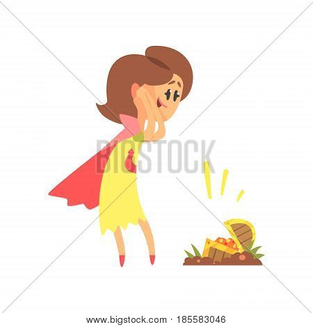 Cute cartoon woman found a treasure chest. Colorful character vector Illustration isolated on a white background
