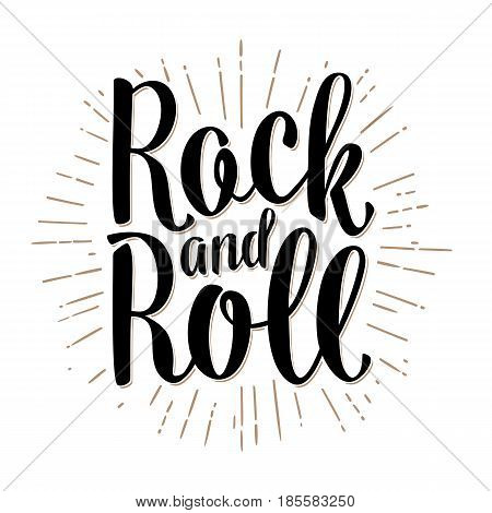 Rock and Roll lettering with rays. Vintage black vector illustration for poster web. Isolated on white background.