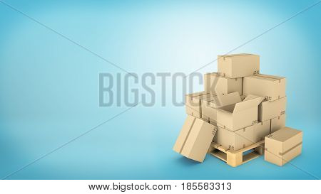 Many brown carton boxes placed on a wooden pallet with some of the boxes either open or on the ground. Loading cargo. Safe delivery. Cargo business.