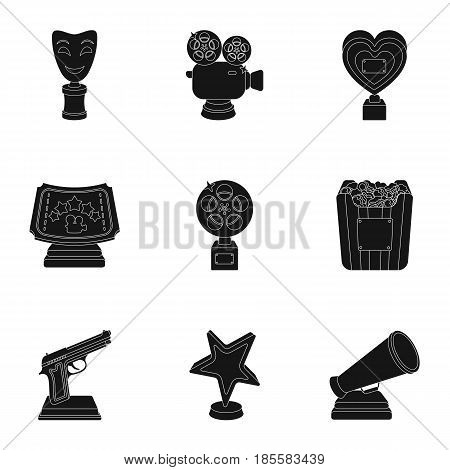 A set of awards for the movie viewings. Awards to the Director, the actor. Moovie awards icon in set collection on black style vector symbol stock web illustration.