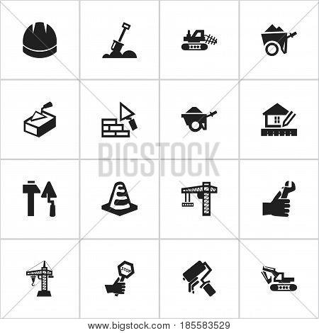 Set Of 16 Editable Construction Icons. Includes Symbols Such As Construction Tools, Trolley, Elevator And More. Can Be Used For Web, Mobile, UI And Infographic Design.