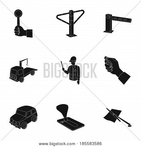 A set of icons for parking cars and bicycles. Fines and elements of parking.Parking zone icon in set collection on black style vector symbol stock web illustration.