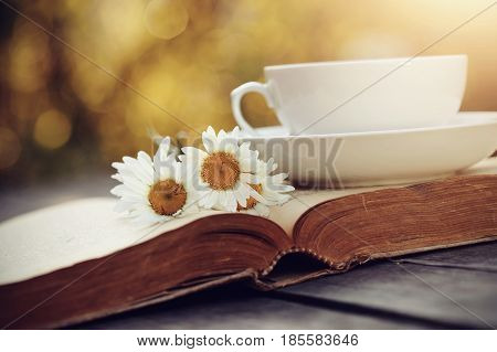 Old open book and a cup with a camomiles on a wooden table.