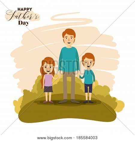 colorful card of landscape with dad and daugther and son holding hands on the fathers day vector illustration
