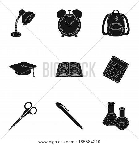 Set of pictures about the school. Study training. Supplies for school.Outfit of the student. School and eduacation icon in set collection on black style vector symbol stock web illustration.
