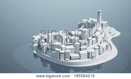 Mini toy Old city down town on small iland, 3d illustration