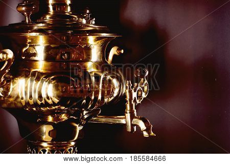 Russian Samovar, Device For Water Heating, Gold And Polished, Gloss And Glare, Horizontal