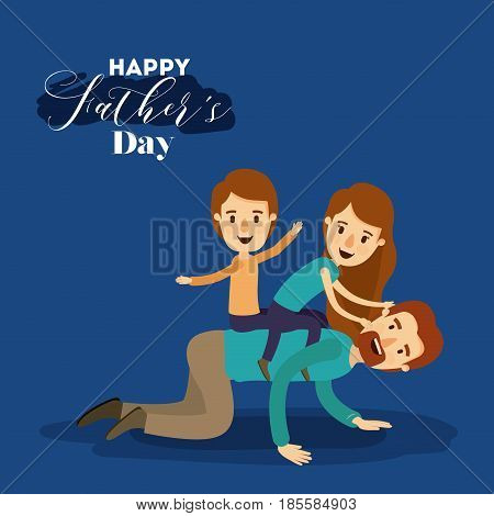 dark blue background with dad playing with daugther and son on the fathers day vector illustration