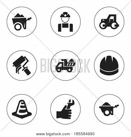 Set Of 9 Editable Construction Icons. Includes Symbols Such As Hardhat , Handcart , Caterpillar. Can Be Used For Web, Mobile, UI And Infographic Design.
