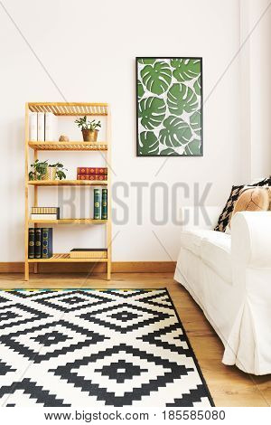 White living room with bookcase couch and pattern carpet