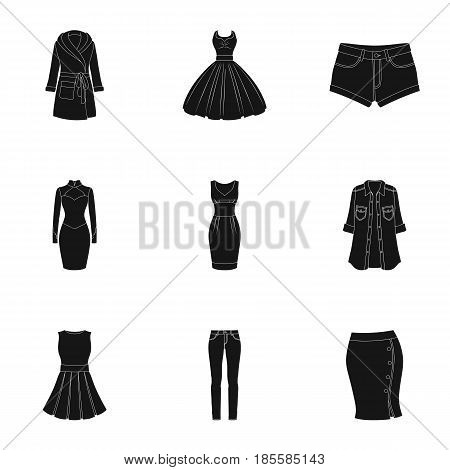 Collection of icons of womens clothing. Various women's clothes for work, walking, sports. Women clothing icon in set collection on black style vector symbol stock web illustration.