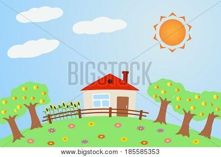 Vector illustration the rural landscape in summer.