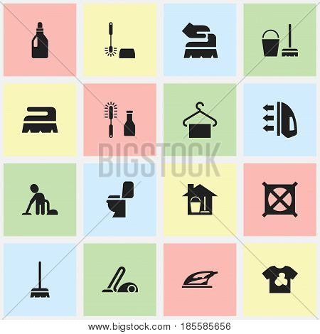 Set Of 16 Editable Cleaning Icons. Includes Symbols Such As Appliance, Whisk, Sweep And More. Can Be Used For Web, Mobile, UI And Infographic Design.