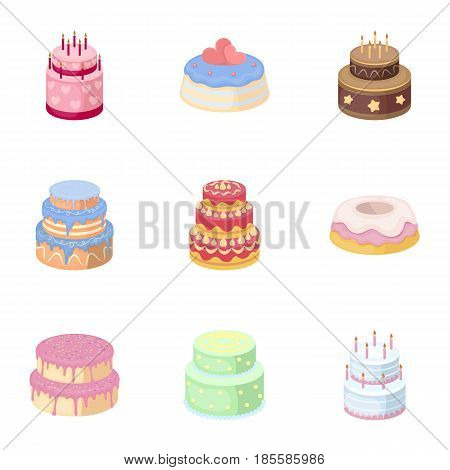 Cakes for the holidays. A set of different sweets. Beautifully decorated cakes and muffins.Cakes icon in set collection on cartoon style vector symbol stock web illustration.
