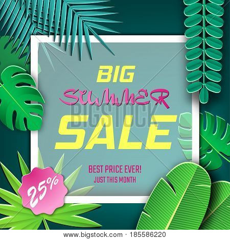 Vector Illustration of Summer Season Sale for Design, Website, Background, Banner. Paper cut Tropicalr Elements. Discount Template