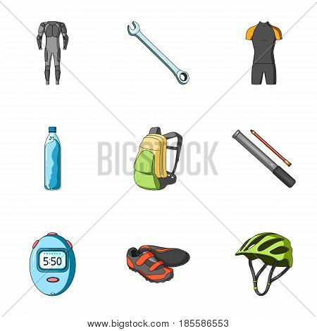 Icons of Cycling, bike. Set for bike, backpack protection, repair, form. Cyclist outfit icon in set collection on cartoon style vector symbol stock web illustration.