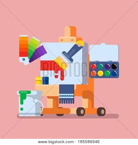 Art Studio illustration Set of Tools and Materials for Creativity and Painting Flat vector illustration