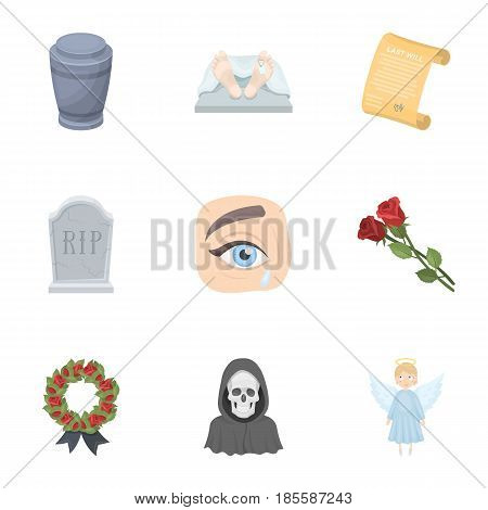 Funeral ceremony, cemetery, coffins, priest.Funeral ceremony icon in set collection on cartoon style vector symbol stock web illustration.