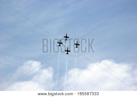 Russia. Air show in honor of the day of victory over Fascism. Aircraft in the sky