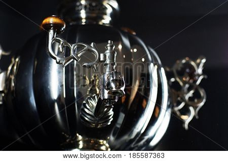 Russian Samovar, Device For Water Heating, Silver And Polished, Gloss, Horizontal