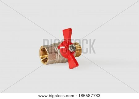 Ball valve half-turn. Isolated on a gray background.