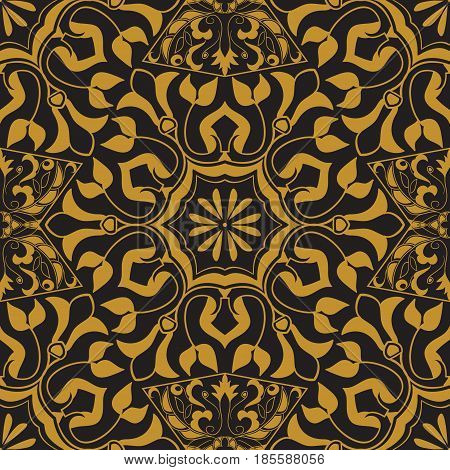 Vector seamless texture. Golden vintage pattern on black background. Arabesque and floral ornaments. Oriental, asian, Arabic, Moroccan, Turkish motifs