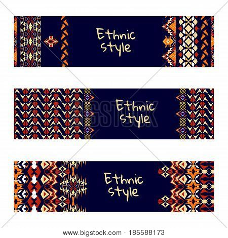 Vector set of colorful horisontal banners for business and invitation. Striped geometric ornaments. Native american indian motifs. Boho style