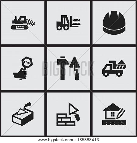 Set Of 9 Editable Building Icons. Includes Symbols Such As Endurance, Hardhat, Camion And More. Can Be Used For Web, Mobile, UI And Infographic Design.