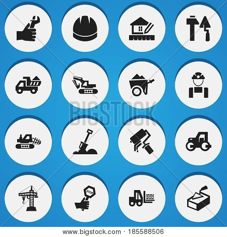Set Of 16 Editable Structure Icons. Includes Symbols Such As Endurance , Construction Tools, Handcart. Can Be Used For Web, Mobile, UI And Infographic Design.