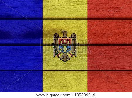 Moldova Flag On A Wood