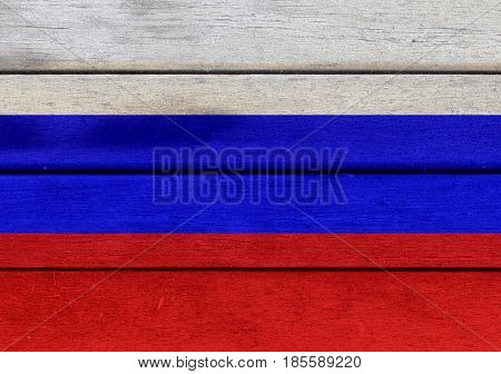 Russian Federation Flag On A Wood