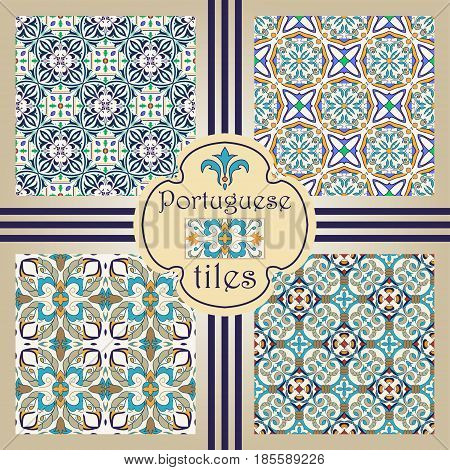 Vector seamless texture collection. Set of beautiful colored patterns for design and fashion with decorative elements. Portuguese tiles, Azulejo, Moroccan ornaments