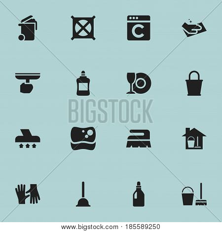 Set Of 16 Editable Cleanup Icons. Includes Symbols Such As No Laundry, Cleaner, Brush And More. Can Be Used For Web, Mobile, UI And Infographic Design.