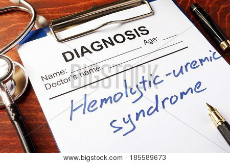 Medical form with diagnosis Hemolytic-uremic syndrome (HUS).