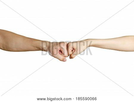 Fist To Fist. Male Vs Female Hand. Isolated On A White Background
