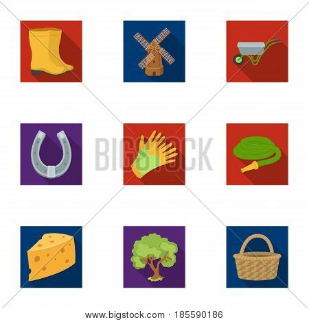 Set of pictures about gardening. Village, vegetable garden, garden, ecology.Farm and Gardening icon in set collection on flat style vector symbol stock web illustration.