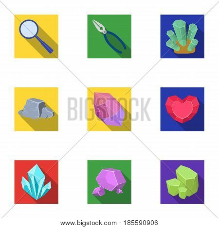A set of jewelry, crystals, minerals and expensive metals. The jeweler inspects the ornaments.Precious minerals amd jeweler icon in set collection on flat style vector symbol stock web illustration.