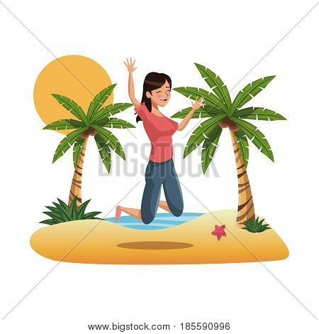 beautiful energetic young woman taking a great leap on the beach vector illustration
