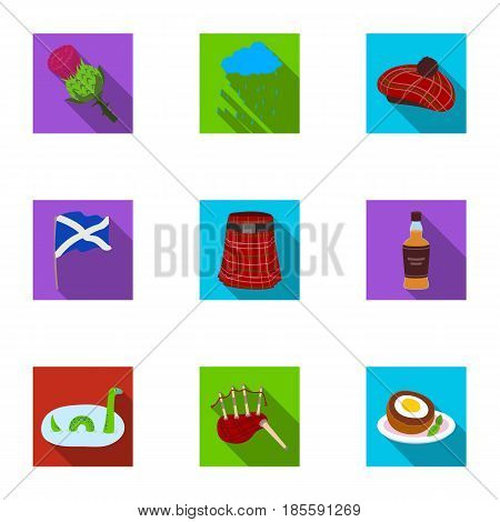 National symbols of Scotland. Scottish attractions. Scotland country icon in set collection on flat style vector symbol stock web illustration.