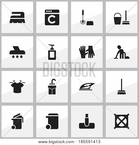 Set Of 16 Editable Cleanup Icons. Includes Symbols Such As Hoover, Servant, Sweep And More. Can Be Used For Web, Mobile, UI And Infographic Design.