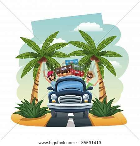 cartoon happy couple vintage car suitcases on the tropical road vector illustration