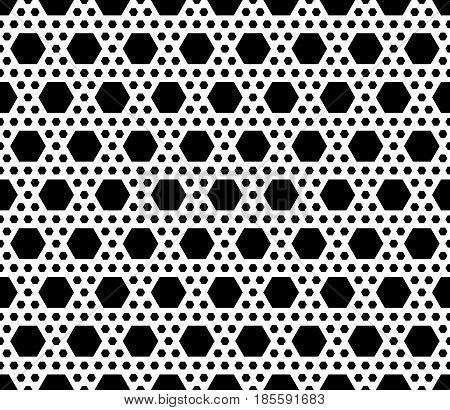 Vector monochrome texture, simple geometric black & white seamless pattern with different sized hexagons. Repeat abstract geometrical background. Modern design for textile, decor, print, textile, web