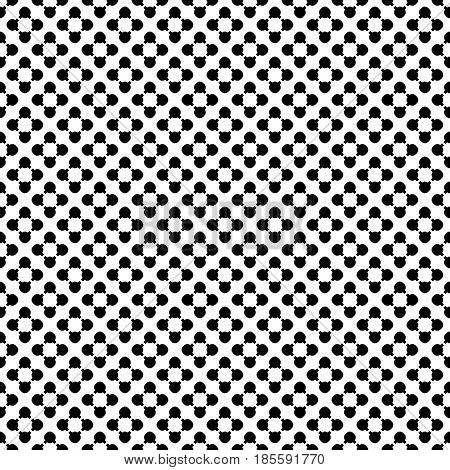 Simple monochrome vector texture, floral geometric seamless pattern. Black flourish figures on white background, small circles & lines, diagonal array. Abstract design for prints, textile, package