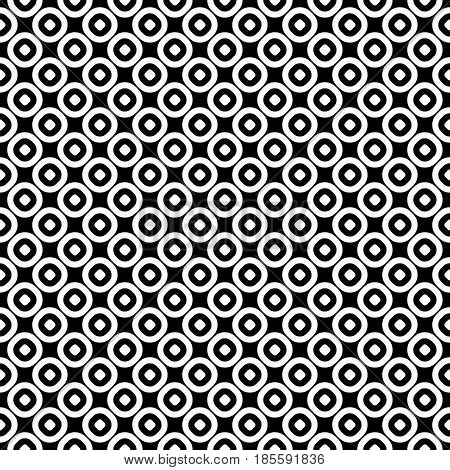 Vector seamless pattern, monochrome polka dot texture. Simple geometric background with staggered perforated circles. Black & white abstract contrast design for decor, textile, furniture, prints, web