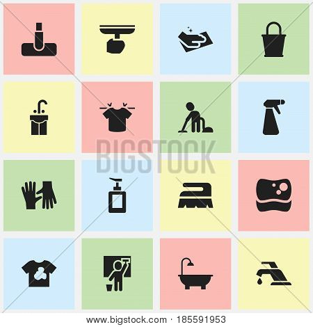 Set Of 16 Editable Cleanup Icons. Includes Symbols Such As Faucet, Unclean Blouse, Sweep And More. Can Be Used For Web, Mobile, UI And Infographic Design.
