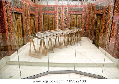 BERLIN GERMANY - APRIL 7: Aleppo room from Syria at Pergamon museum on April 7 2017 in Berlin
