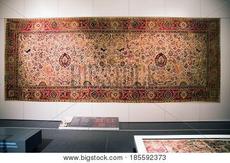 BeRLIN GERMANY - APRIL 7: Carpet room in Islamic art at Pergamon museum on April 7 2017 in Berlin