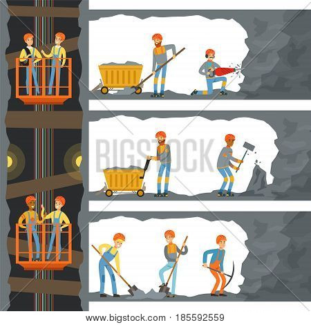 Coal industry, shaft with many levels, workers, lift and appliances. Miners working in a mine, colorful cartoon detailed vector Illustrations