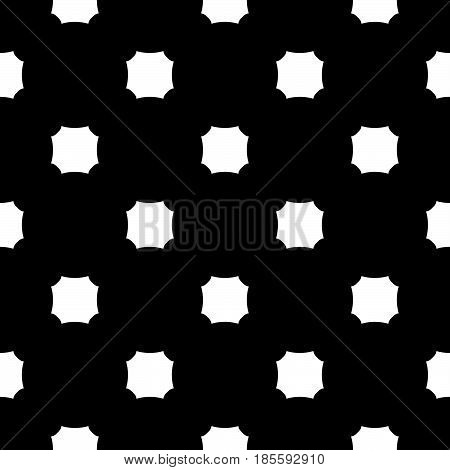 Vector monochrome seamless texture. Black & white geometric minimalist pattern, illustration with simple figures, octagons. Abstract dark repeat background. Design element for prints, stationery, web