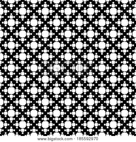 Vector monochrome texture, simple geometric seamless pattern, white octagonal figures on black backdrop. Abstract repeat background for prints, decor, textile, fabric, cover, furniture, clothes, paper